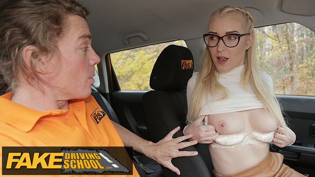 Blonde learner with perfect boobs